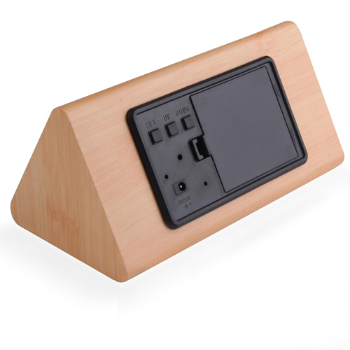 Triangle Wooden Digital Alarm Clock Image 2
