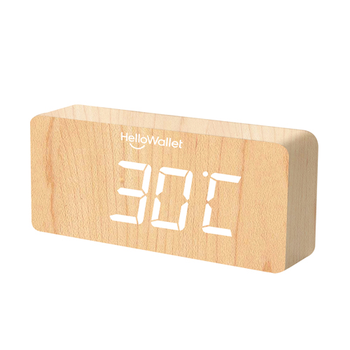 Rectangular Digital LED Wooden Clock