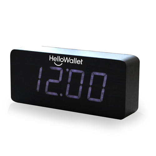 Rectangular Digital LED Wooden Clock Image 1