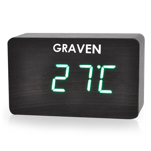 Modern Wooden Digital LED Clock Image 1
