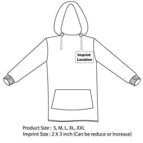 Pullover Hooded Sweatshirt Imprint Image
