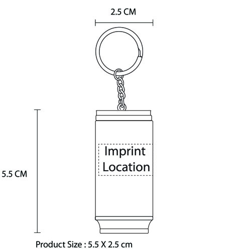 Can Shaped Telescopic Ballpoint Keychain Imprint Image