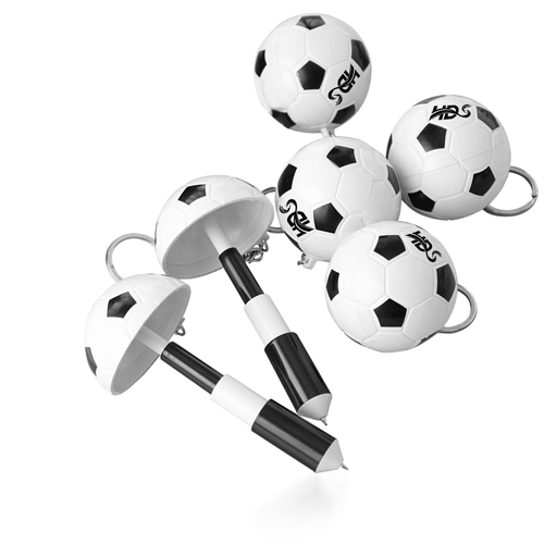 Football Shaped Keychain With Mini Pen Image 1