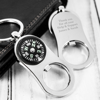 Metal Bottle Opener Compass Keychain