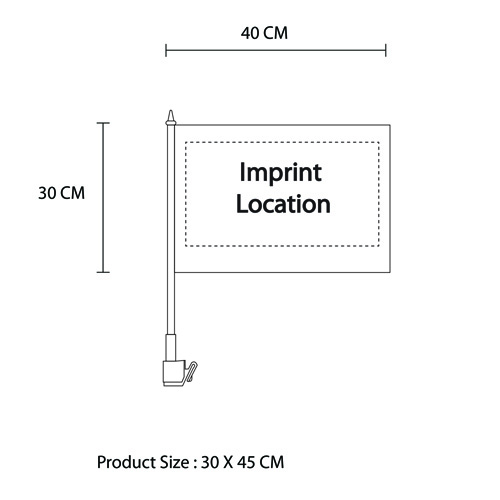 Custom Car Window Flag Imprint Image