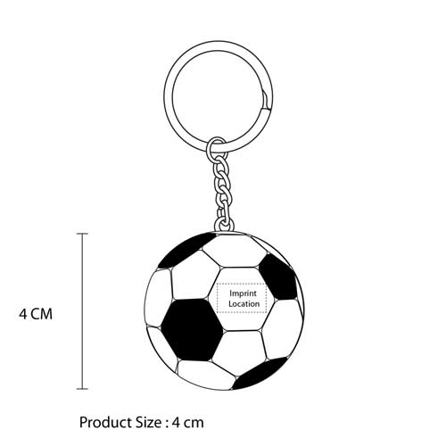 Football Shaped Stress Ball Keychain Imprint Image