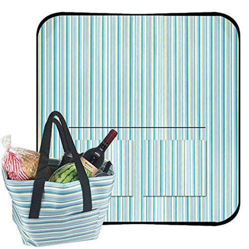Elegant Satchel-Style Picnic Mat Tote Bag Image 7