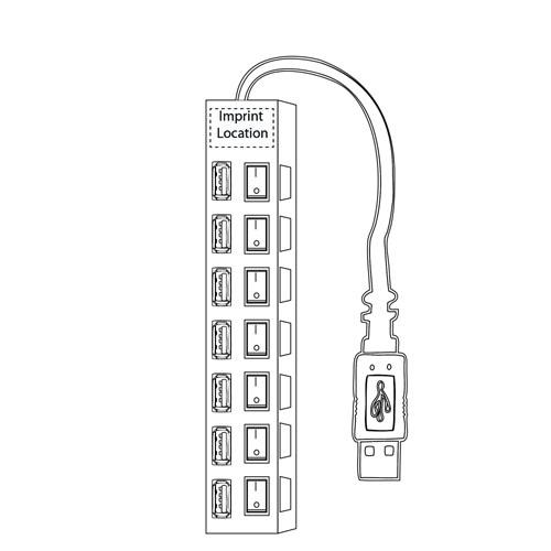 7 Port USB 2.0 Switchable Hub