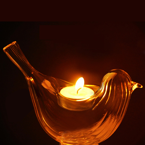 Crystal Glass Bird Candle Holder