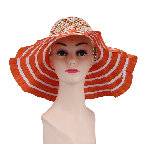 Striped Wide Brim Straw Cap Image 1