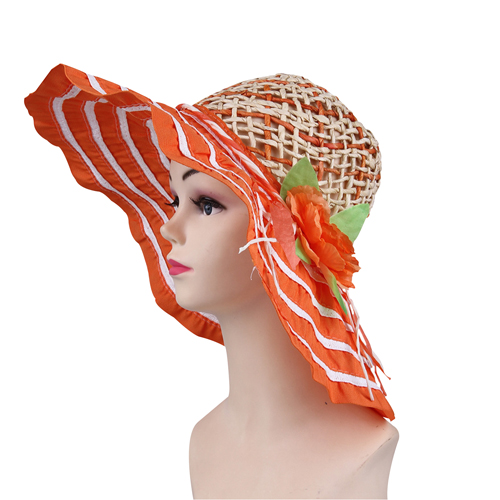 Striped Wide Brim Straw Cap Image 2