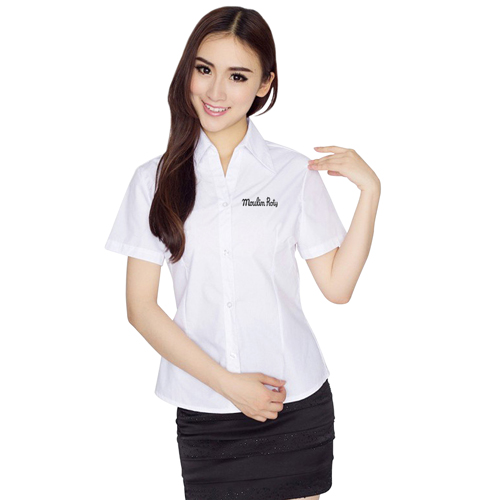 Slim Short-Sleeve Ladies Formal Shirt