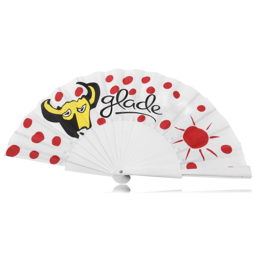 16 Wooden Ribs Polyester Hand Fan