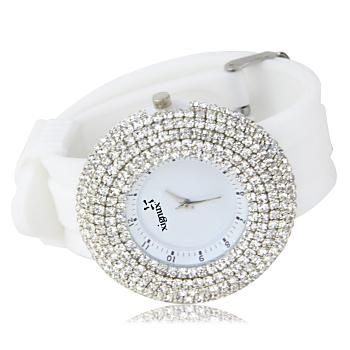 Elegant Rhinestones Silicone Wrist Watch
