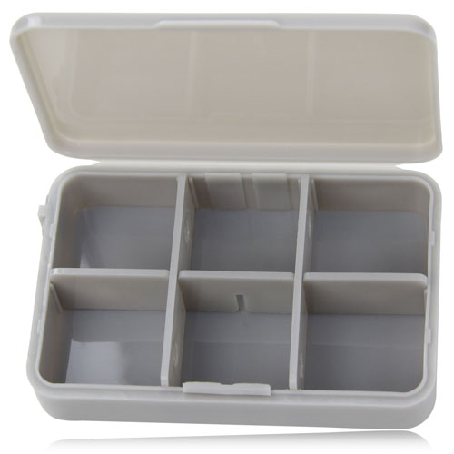 Pill Box With 6 Compartment Removable Tray