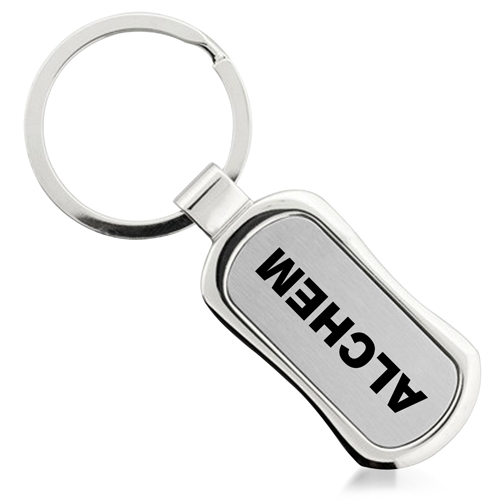Rectangle Chrome Finish Metal Keychain