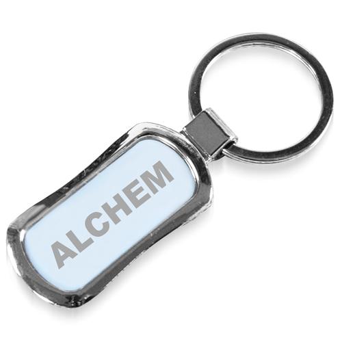 Rectangle Chrome Finish Metal Keychain
