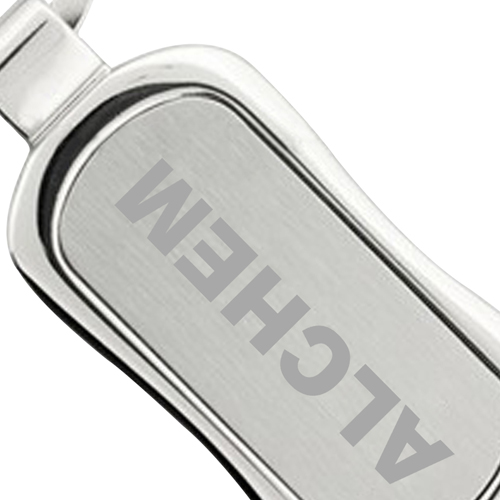 Rectangle Chrome Finish Metal Keychain Image 4