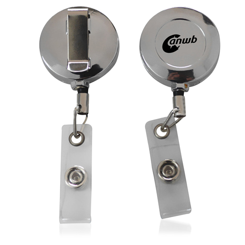 Chrome Solid Retractable Badge Reel
