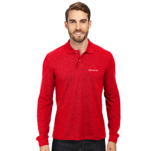 Cotton Blend Long Sleeve Polo Shirt