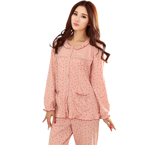 Floral Cotton Round Neck Pajamas