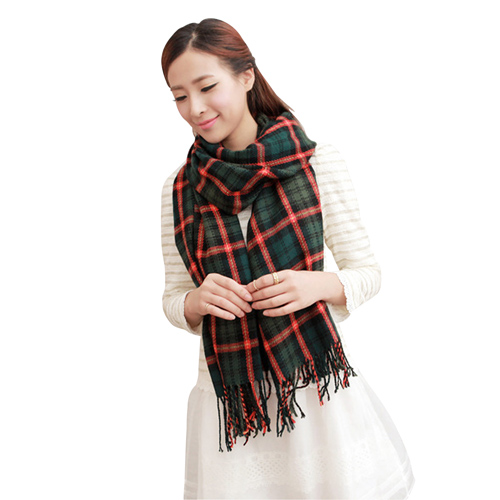 Soft Plaid Long Shawl