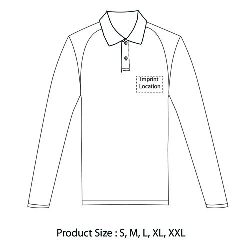 Long Sleeve Polo Shirt Imprint Image