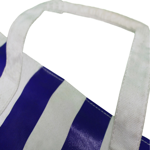Large Striped Canvas Tote With Pocket