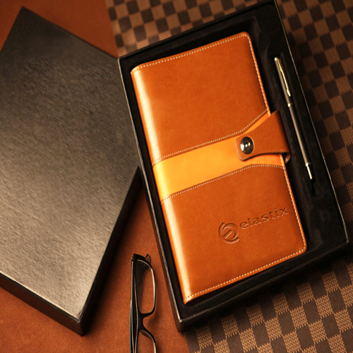 Leather Cover Jotter With 80 Sheet Paper Image 2