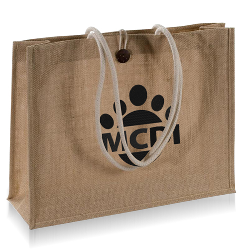 Jute Shopping Bag With Tie-Over Button