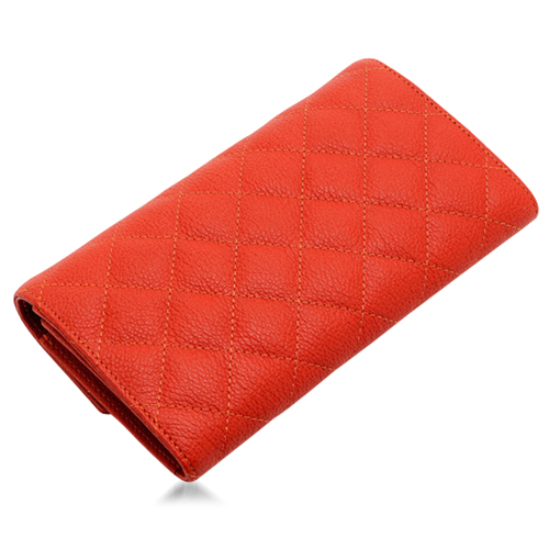 Plaid Womens Leather Long Wallet