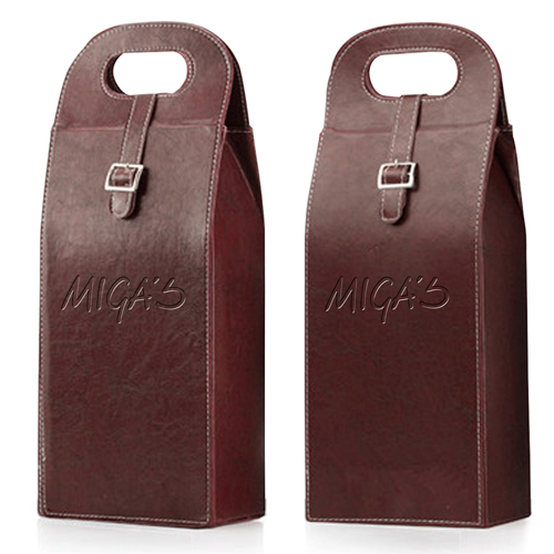Dual Leather Wine Carrying Tote Image 1