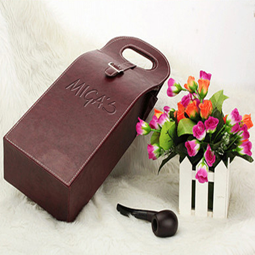 Dual Leather Wine Carrying Tote Image 2