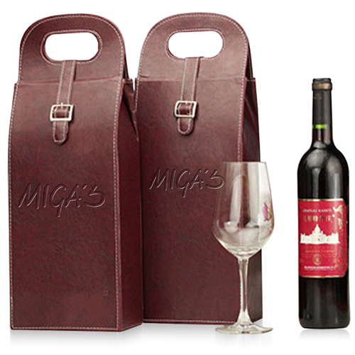 Dual Leather Wine Carrying Tote Image 6