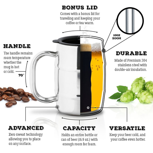 Barrel Shaped Stainless Steel Beer Mug Image 3