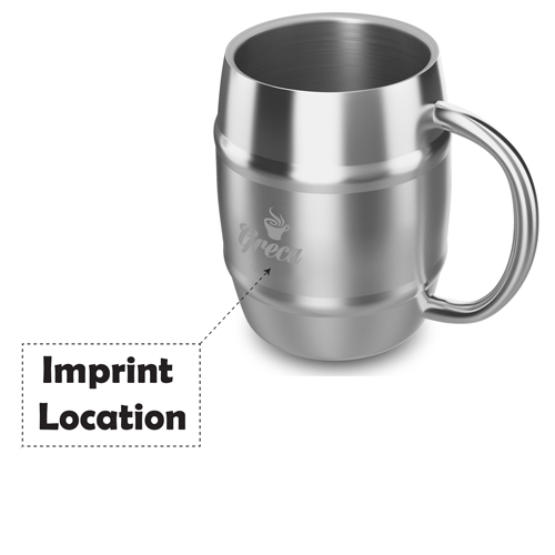 Barrel Shaped Stainless Steel Beer Mug Imprint Image
