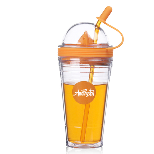 Double Wall Squeezer Cup With Straw Image 2