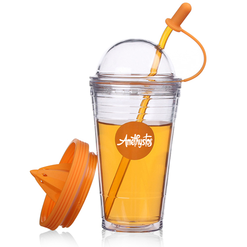 Double Wall Squeezer Cup With Straw Image 5