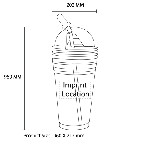 Double Wall Squeezer Cup With Straw Imprint Image