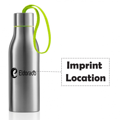 Stainless Steel Water Bottle With Strap Imprint Image