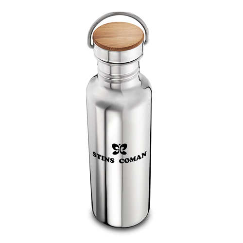 Multi-Layer Stainless Steel Bottle With Bamboo Cap Image 1