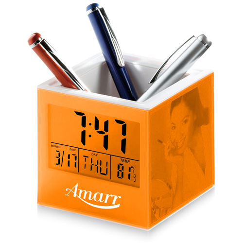 Square Transparent Desk Pen Holder Clock