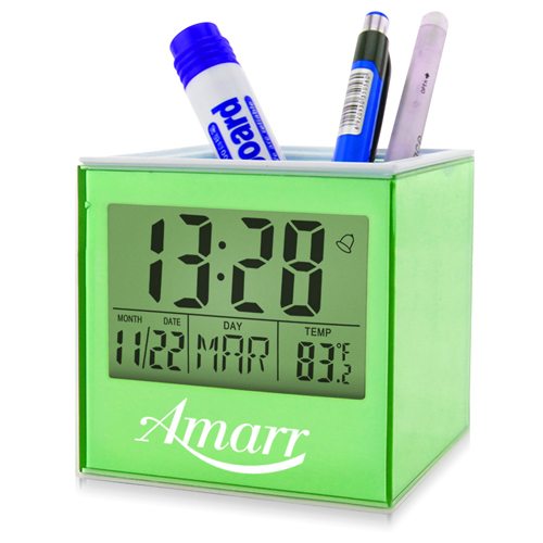 Square Transparent Desk Pen Holder Clock Image 1