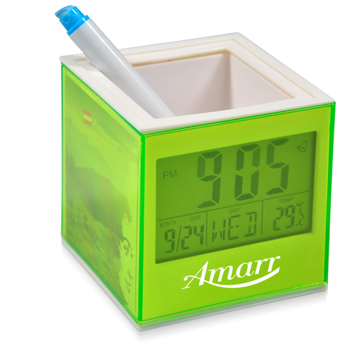Square Transparent Desk Pen Holder Clock Image 2