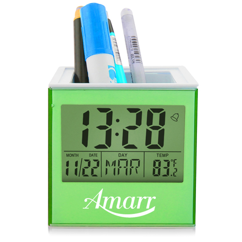 Square Transparent Desk Pen Holder Clock Image 3