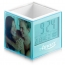 Square Transparent Desk Pen Holder Clock Image 4