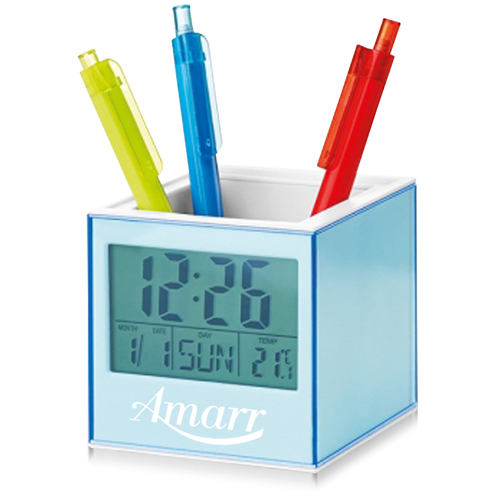 Square Transparent Desk Pen Holder Clock Image 6