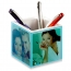 Square Transparent Desk Pen Holder Clock Image 7