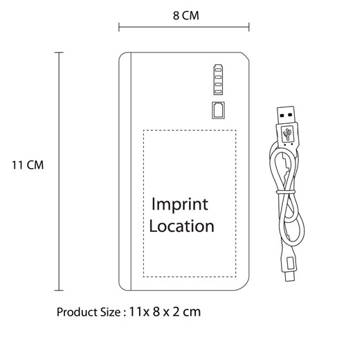 12000mAh External Power Bank Imprint Image