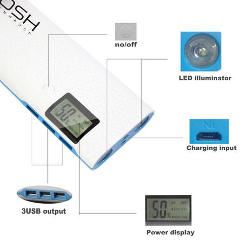 3 USB 20000mAh Digital Power Bank